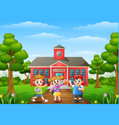 happy school children standing in front of school vector image