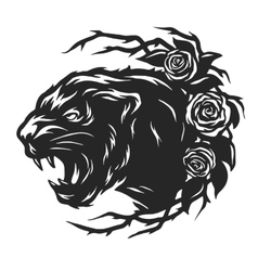 Head of a black panther and roses vector
