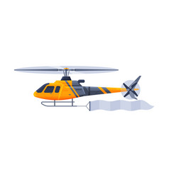 Helicopter with blank banner flying in sky vector