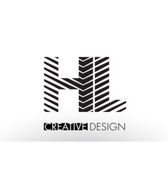 Hl h l lines letter design with creative elegant vector