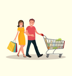 husband and wife shopping vector image