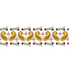Indian traditional kalamkari border with paisley vector
