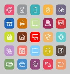Internet cafe line flat icons vector image