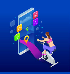 isometric fit woman training at home on exercise vector image