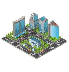 isometric modern cityscape template vector image