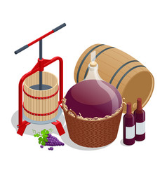 Isometric wine production crushing and pressing vector