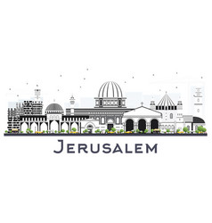 jerusalem israel skyline with gray buildings vector image