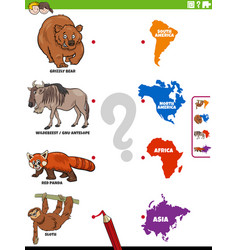 Join animals and continents educational game vector