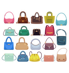 leather handbags woman colorful luxury modern vector image