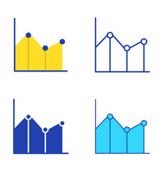 line graph icon set in flat and line style vector image