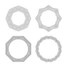 Lineart geometric ornamental templates set vector