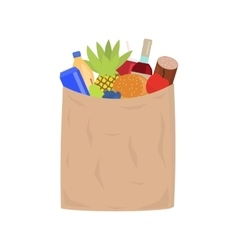 market paper shopping bag full groceries vector image