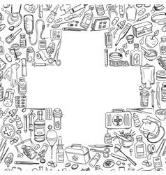 medicine doodle background vector image
