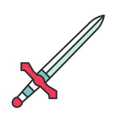 Metal dagger knight sword color icon vector