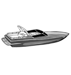 Monochromatic boat icon vector