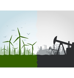 Nature against the industry vector image