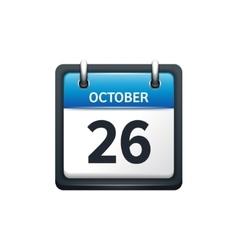 October 26 calendar icon flat vector