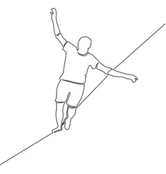 One continuous line man walking a tightrope vector