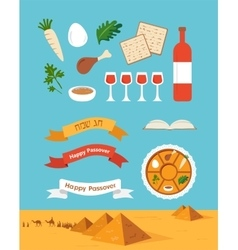Passover seder plate with flat trasitional icons vector image