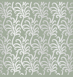 Pattern with vintage silver feathers ornament vector