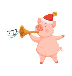 Pig symbol of 2019 approaching new year playing on vector