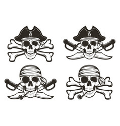 pirate skull set hand drawn vector image