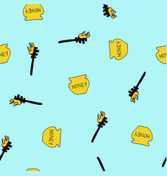 pot of honey special spoon seamless pattern vector image