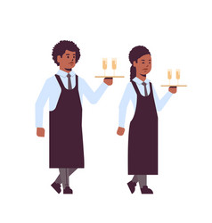 professional waiters holding serving trays with vector image