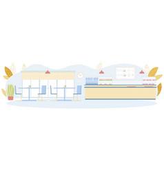 Public canteen or self-service cafeteria interior vector