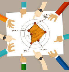 radar chart performance strong aspects hand vector image