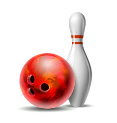 red glossy bowling ball and white bowling pin vector image