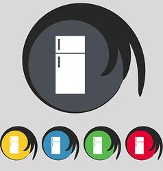 Refrigerator icon sign Symbol on five colored vector