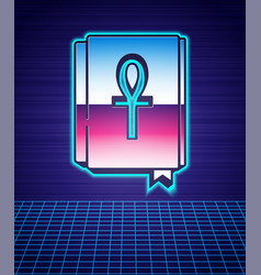 Retro style cross ankh book icon isolated vector
