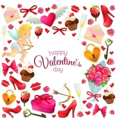 Round frame with Valentines Day icons vector image