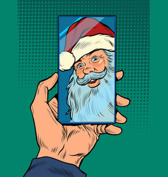 santa claus on a conference call online video call vector image