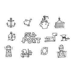 Sea port black icons set vector image