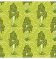 Seamless birch trees and floral pattern vector image