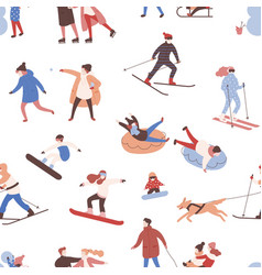 seamless pattern with men women and kids vector image
