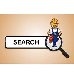 Service search constructor boy cartoon vector image