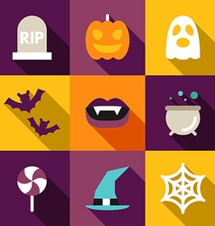 Set of Flat Design Halloween Grave Ghost Pumpkin vector