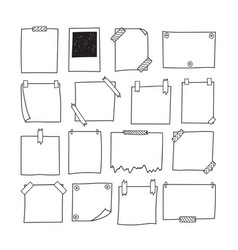 Set of hand drawn paper notes notepapers and vector