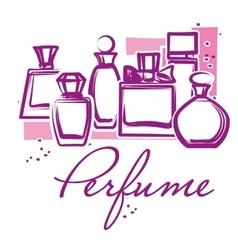 Set of hand drawn perfume bottles vector