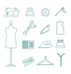 sewing line icons set vector image