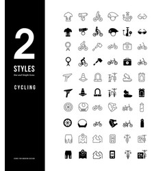 Simple line icons cycling vector