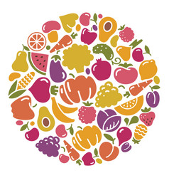 Stylized icons of vegetables and fruit vector