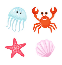 summer character red crab and jellyfish starfish vector image