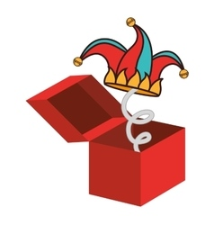 surprise box fools day vector image