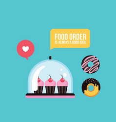 sweet dessert delicious cute cupcakes and donuts vector image