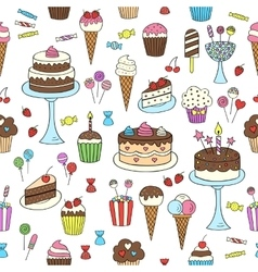 Sweets hand drawn doodle seamless vector