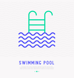 Swimming pool thin line icon with ladder vector